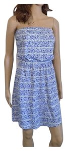 Gap short dress Blue and white Strapless Elastic on Tradesy
