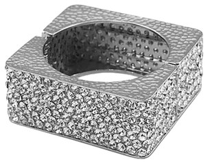 Rhinestone Crystal Silver Square Cuff Bracelet Bangle