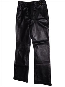 St. John Straight Pants Black Leather