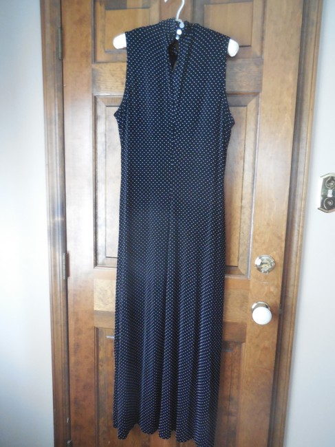 Black w/White Dots Maxi Dress by Coldwater Creek Sleeveless Traveler Knit Comfortable Extra Buttons Maxi Image 5