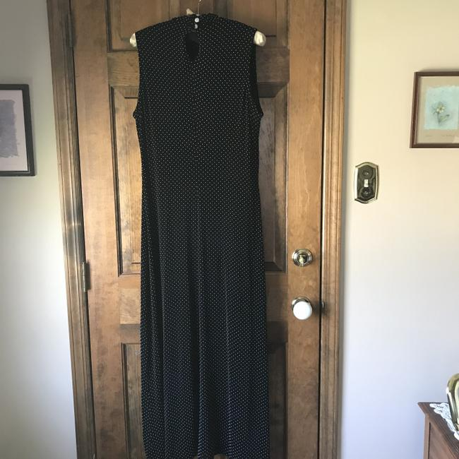 Black w/White Dots Maxi Dress by Coldwater Creek Sleeveless Traveler Knit Comfortable Extra Buttons Maxi Image 9