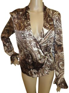 St. John 93% Silk Loose Neckline Top Brown/Beige