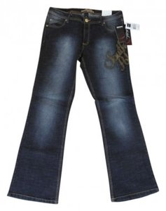 South Pole Collection Size 13 Stretchy Low Rise Faded Stonewash Embroidered Boot Cut Jeans-Medium Wash