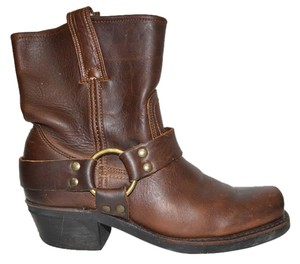 Frye Moto Motocycle Biker BROWN Boots