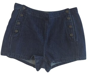 Free People Vintage Sailor High Waisted Shorts Blue Denim