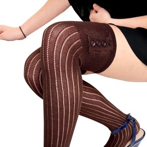 NEW! French Curve Buttoned Ribbed Knit Over-the-Knee Socks, Brown
