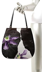 Versace Hand Painted Flowers Tote in Brown & White