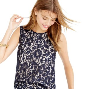 J.Crew Lace Shell Collection Top Black