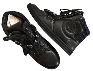 Chanel Ankle Sneaker Size 37.5 Navy Blue Black Boots