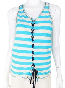 Jean-Paul Gaultier Tie Heart Striped Cotton Top