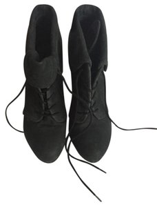 Elizabeth and James Leather Wedge Lace Up Charcoal Boots