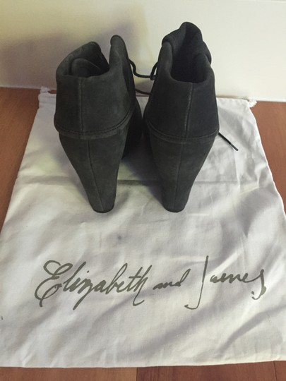 Elizabeth and James Leather Wedge Lace Up Charcoal Boots Image 1