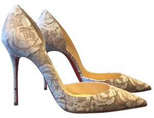 Christian Louboutin Ivory and Cream Floral Pumps