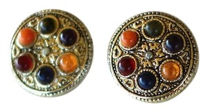 Other 80's Gemstone Shield Clip on Earrings