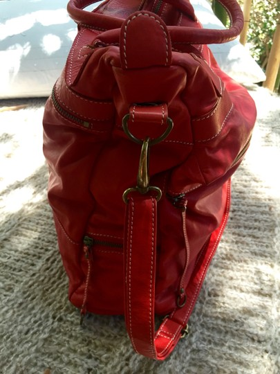 Latico Messenger Convertible Leather Tote in Red Image 3