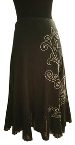 Les Copains Laser Cut Embroidered Maxi Skirt Black with white embriodry
