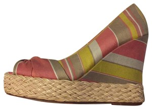 REPORT Summer Espadrille Pink tan yellow Wedges