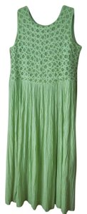 Green Maxi Dress by Coldwater Creek Petite Sundress Maxi Sleeveless Shoelace Ties