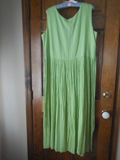 Green Maxi Dress by Coldwater Creek Petite Sundress Maxi Sleeveless Shoelace Ties Image 2