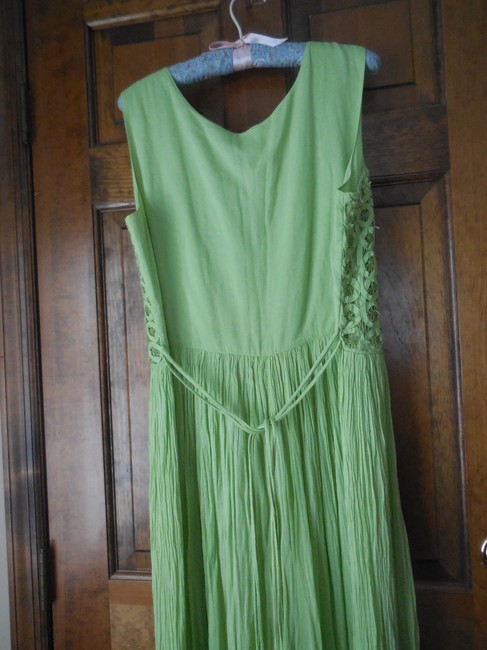 Green Maxi Dress by Coldwater Creek Petite Sundress Maxi Sleeveless Shoelace Ties Image 4