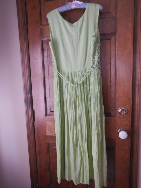Green Maxi Dress by Coldwater Creek Petite Sundress Maxi Sleeveless Shoelace Ties Image 5