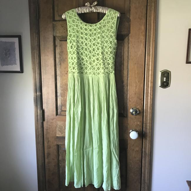 Green Maxi Dress by Coldwater Creek Petite Sundress Maxi Sleeveless Shoelace Ties Image 6