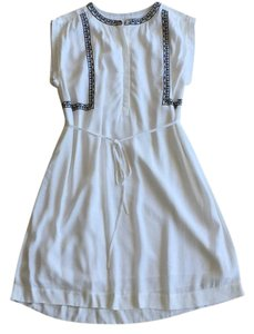 Ann Taylor LOFT short dress White and Black Embroidered Peasant Greek Summer Spring on Tradesy