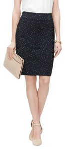 Ann Taylor Jacquard Polka Dot Office Versatile Skirt Navy