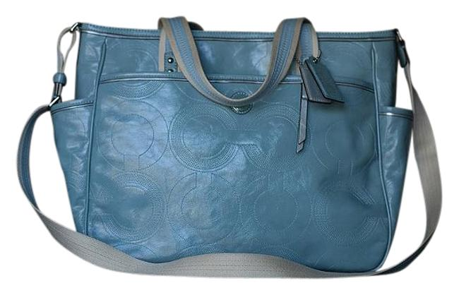 Item - 19911 Sv/Mist Bby Sti Pat Tote Baby Blue and Silver Leather Diaper Bag
