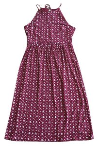 Red and White Maxi Dress by Ann Taylor LOFT Printed Halter Midi Summer
