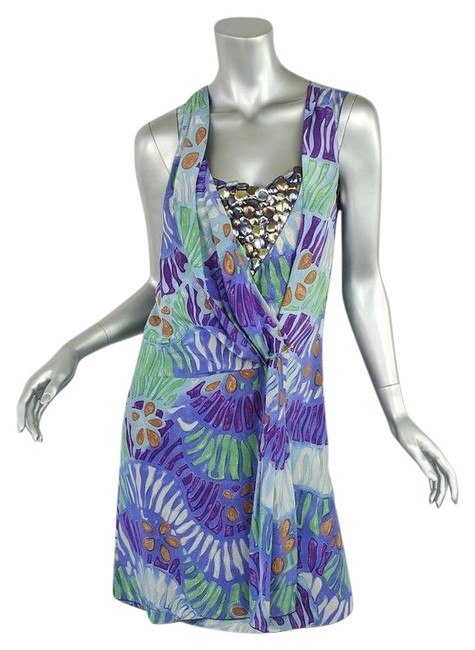 Item - Multi-color Beaded Silk Sleeveless Faux-wrap Mid-length Night Out Dress Size 6 (S)