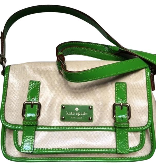 Item - Light-weight Fun To Carry Beige/Green Patent Leather Cross Body Bag