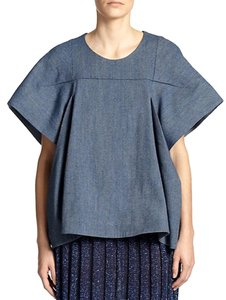 a detacher Oversized Linen Wide Sleeves Dolman Top denim
