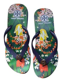 0edcdeb19 Tory Burch Comfortable Classic Rubber Navy Floral Sandals