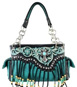Montana West Spiritual Cross Boot Scroll Satchel in Turquoise