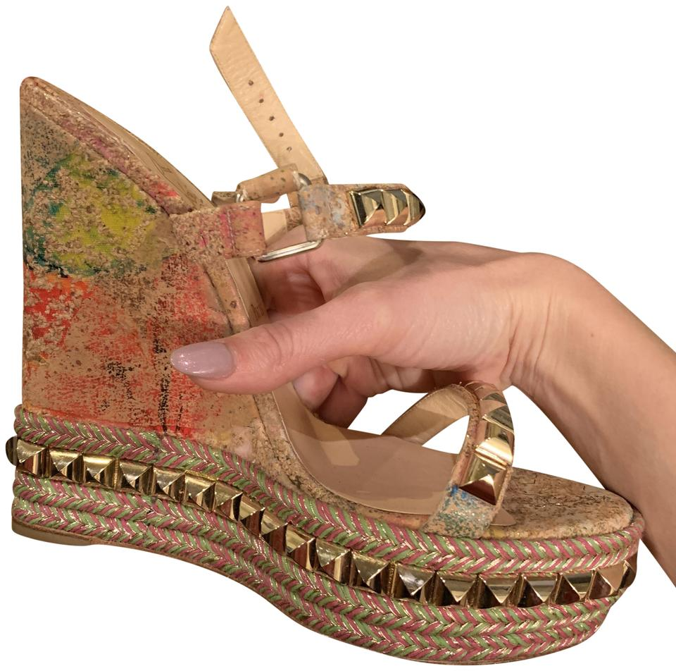 new styles fdf2a c7108 Multi Gold Cataclou Wedges