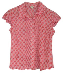 Odille Top Pink with red rosebuds