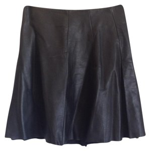 AllSaints Genuine Leather A-line Mini Mini Skirt Black