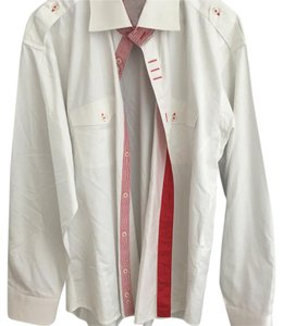 DEUX MEC Mens Button Down Button Down Shirt White