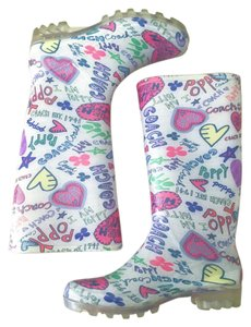 Coach Rainbow Printed Weatherproof Spring Multicolor Boots