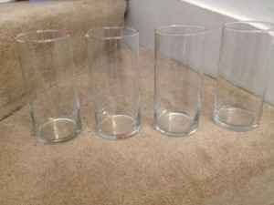 Clear 4 Cylinder Vases Votive/Candle