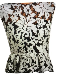 Dolce Vita Top Black and grayish cream embroidered