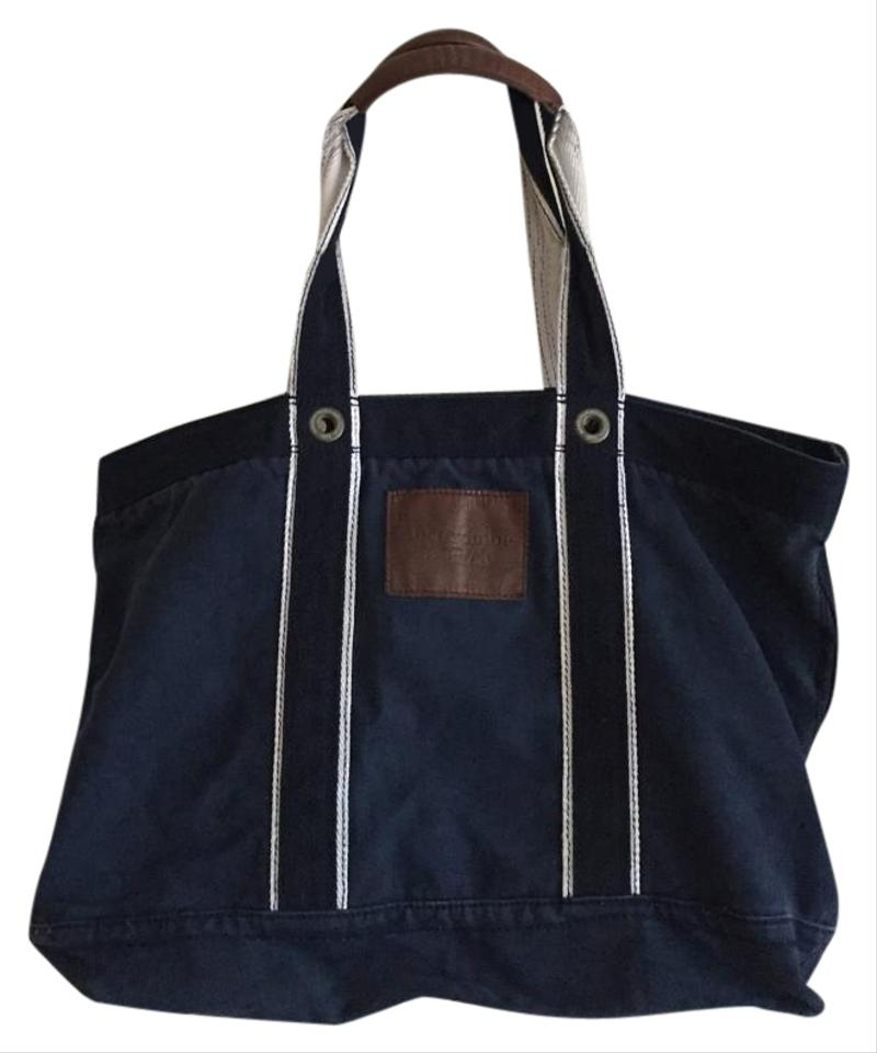 Abercrombie Fitch And Leather Navy Canvas Weekend Travel Bag 61 Off Retail