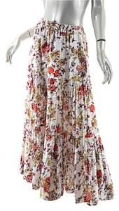 Eskandar Floral Maxi Skirt White Red Multi