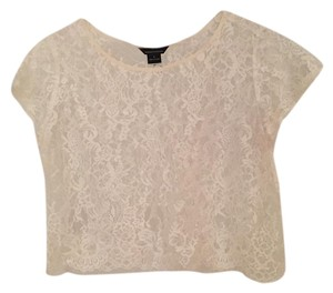 Moda International Lace Crop Vintage Lace Top White