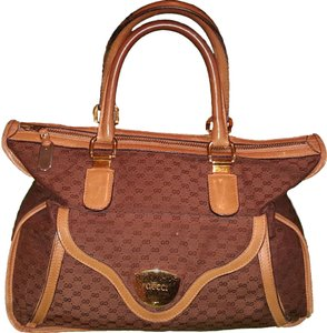 Gucci Vintage Satchel in Brown with Tan Leather Trim