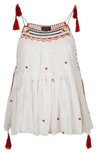 Topshop Embroidered Suntop New Top White, Multi Color, Red