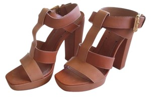 Elizabeth and James Strappy Platform Brown/Tan Sandals