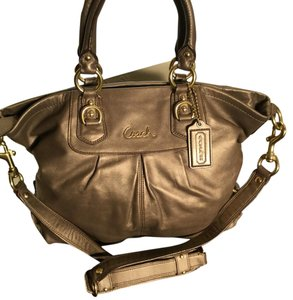 Coach Satchel in Bronze Metallic