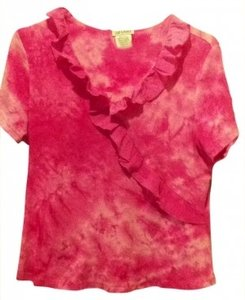 DB Sport Cotton T-shirt Ruffles Summer 10 12 14 Xl L Large Extra Large X-large All Cotton Boho Dye Artsy T Shirt pink tie die